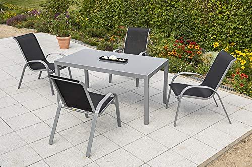 Merxx 5tlg. Amalfi Set, 4 Amalfi Stapelsessel, 1 Tisch, 150 x 90 cm, schwarz
