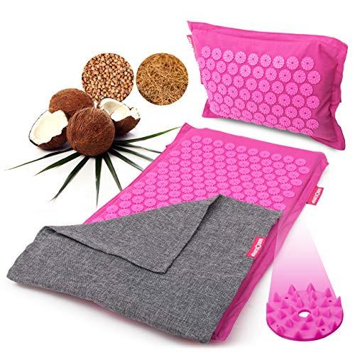 Esterilla de acupresión con almohada de acupresión | Set de acupresión con sujeción a...