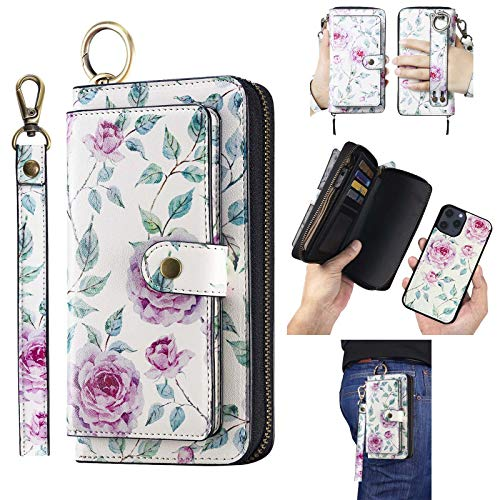AIFENGCASE Phone Case Compatible with iPhone 12/iPhone 12 Pro,Wallet Case for Women Men,Wristlets Clutch Zipper Leather Pouch Wallet Flip Case Card Holder Magnetic Detachable Back Cover,WF