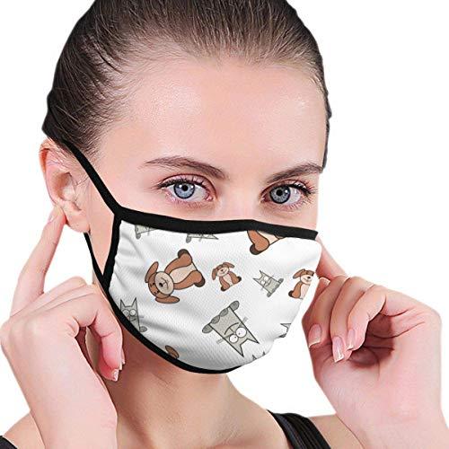 Katten en honden in cartoon-stijl stof halfgezichtsmasker mondmasker met oorbeschermers winddicht masker