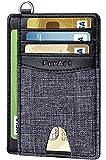 FurArt Cartera minimalista delgada, bolsillo frontal, bloqueo RFID, soporte para tarjetas de crédito con desmontaje en forma de D - - S