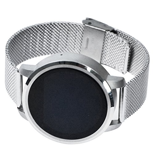 Handy-Uhr Smart Watch, Aktivitätstracker, Pulsuhr Mit Pulsmesser, Für iOS und Android, 1.22 Zoll runder Touchscreen, Schlaftracker, Armbanduhr Telefon, Silber