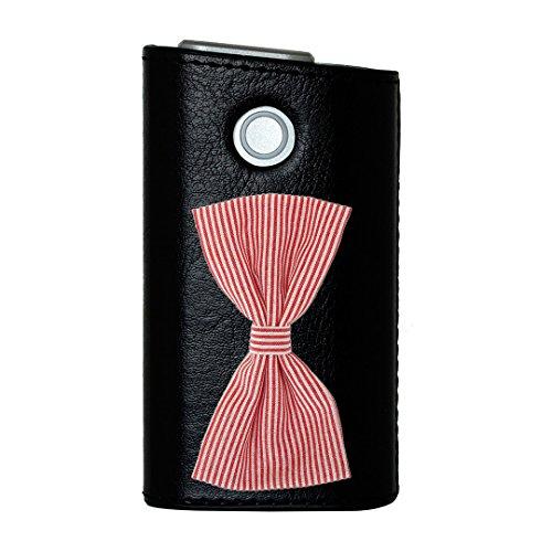glo グロー グロウ 専用 レザーケース レザーカバー タバコ ケース カバー 合皮 ハードケース カバー 収納 デザイン 革 皮 BLACK ブラック ユニーク リボン ストライプ 000984