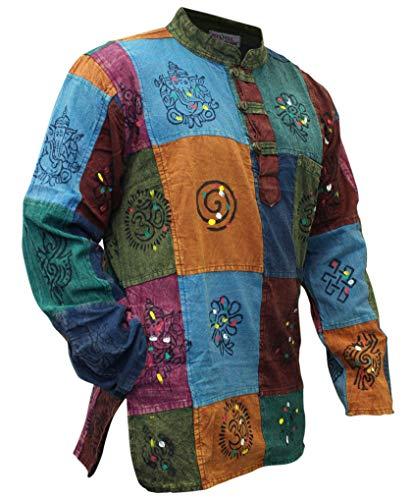Shopoholic, camicia Kurtha, da uomo, effetto slavato, multicolore, patchwork, stile hippie Multicoloured XX-Large