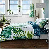 Gaveno Cavailia Luxury TROPICAL LEAF Bed Set with Duvet Cover and Pillow Case, Polyester-Cotton, Gre...