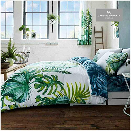 Gaveno Cavailia Luxury TROPICAL LEAF Bed Set with Duvet Cover and Pillow Case, Polyester-Cotton, Green, Double