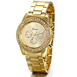 JewelryWe Luxury Mens Dress Watch, Stainless Steel Bling Rhinestones Accented Quartz Wrist Watches - Gold, for Mothers Day
