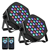 LUNSY RGB Stage Lighting 2Pack, 36LED Dj Par Lights, Uplighting for Events, Sound Activated, Remote and DMX Control, for Wedding, Party, Concert, Festival【New Version】