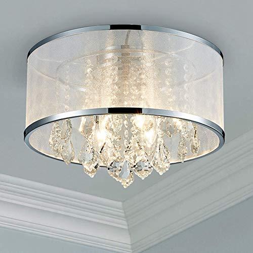 Bestier Moderne Kristalltrommel Kronleuchter Beleuchtung Unterputz LED Deckenleuchte Pendelleuchte Esszimmer Badezimmer Schlafzimmer Wohnzimmer LED 4 E14 Lampen erforderlich