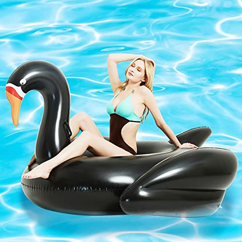 Kurala Giant Swan Inflatable Ride-On Pool Float, with 4 Fast Valves, Pool Raft Lounge for Kids Adults, 73 x 63 x 45 inches, Black