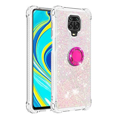 Hülle für Xiaomi Redmi Note9s/Note 9 Pro/Note 9 Pro Max Diamant Ring Flüssig Treibsand Silikon TPU Bumper (Fluoreszierende rosa Sterne)