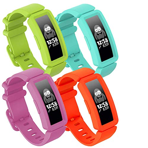 GVFM Compatible with Fitbit Ace 2 Bands for Kids 6+, Soft Silicone Bracelet Accessories Sport Strap Boys Girls bands Compatible for Fitbit Ace 2 (4-HotPink, Lake Blue, Lime, OrangRed)
