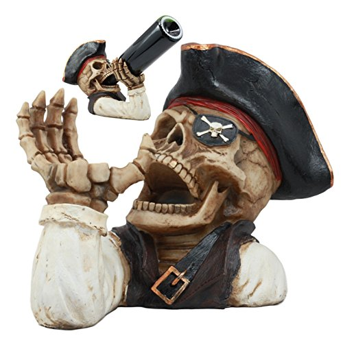 Ebros Bootleg Rum Gold Tooth Pirate Captain Hook Skeleton Wine Holder Figurine Evil Dead Sea...