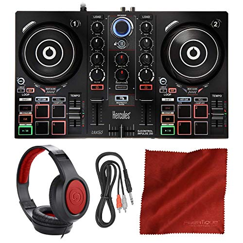 Review Of Hercules DJControl Inpulse 200 Compact DJ Controller + Headphone + Basic Accessory Bundle ...