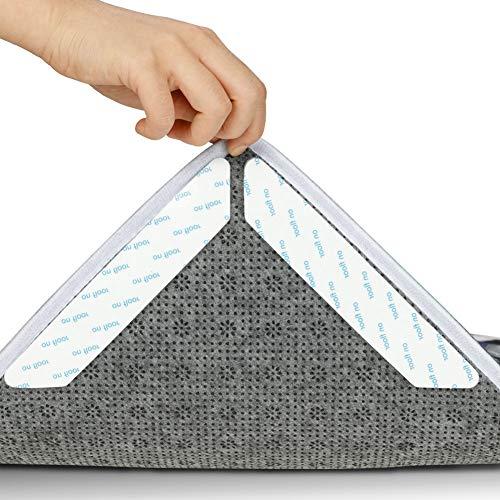 fanshiontide 16 Stück Teppichgreifer Antirutschmatte Antirutschmatte für Teppich Wiederverwendbarer Teppich Anti Rutsch Unterlage Starke Klebrigkeit Rutschfester Rutschschutzmatte Weiß