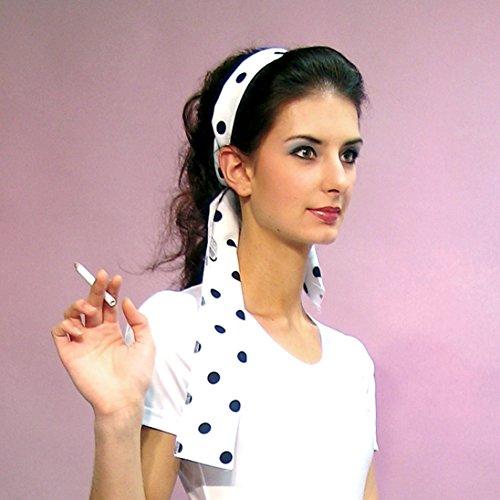 NET TOYS Bandeau pour Cheveux des années 50 - Blanc et Noir | Ruban de Cheveux Rockabilly | Accessoire tête à Pois | Coiffe pointée Rockabella