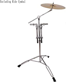 Kuyal Double Tom Drum Stand with Cymbal Boom Arm Adjustable Double Braced Boom Stand Silver & Black (Double Tom Drum Stand)