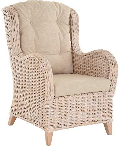 Krines Home Exklusiver Lesesessel Birmingham bequem Rattansessel Rattanmöbel Sessel aus Rattan Ohrensessel Vintage Weiss