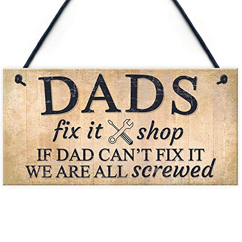 LWF Dads Man Cave Signs Garage Shed Door Wall Hanging Plaque Gifts for Dad Daddy 10' X 5'