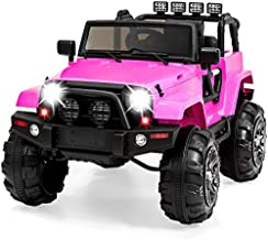 Best Choice Products 12V Kids Ride On Truck Car w/ Remote Control, 3 Speeds, Spring Suspension, LED Lights, AUX - Pink