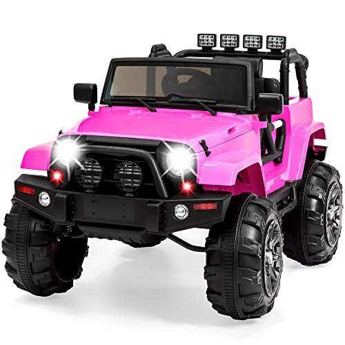 Best Choice Products Kids 12V Ride On Truck w/ Remote Control, 3 Speeds, LED Lights, Wireless Media Pairing - Pink
