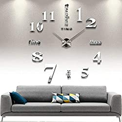 CUGBO DIY Wall Clock Modern Large 3D Wall Clock Mirror Stickers Home Office Decor,Silver