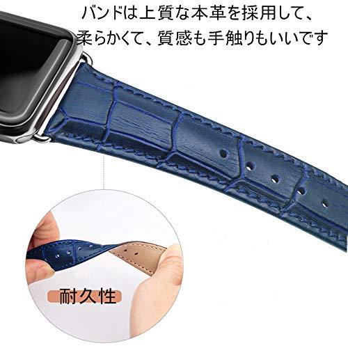 Nywing For apple watch バンド 38mm 42mm 40mm 44mm本革 アップルウォッチバンド iWatchバンド apple watch series 5 4 3 2 1 鰐皮紋様 レザー 交換ストラップ 腕時計ベルト プレゼント用
