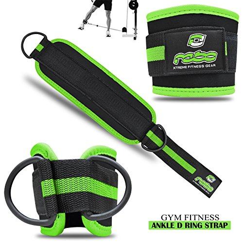 Rebo fitness palestra caviglia regolabile D Ring cinghie cavo attacco macchina puleggia gamba coscia per allenamento fitness nero/fluo