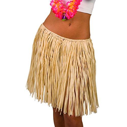 Amakando Baströckchen - beige, 45 cm - Langer Hula Rock Aloha Partyrock Hawaii Party Outfit Hawaii Kostüm Damen Langer Hula Rock