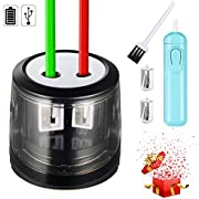 Pencil Sharpener, Electric Pencil Sharpener Small Electric USB or Battery Operated Pencil Sharpener for No.2 and Colored Pencil Kids Friendly at Home, Office, School (Bonus: Electric Eraser)