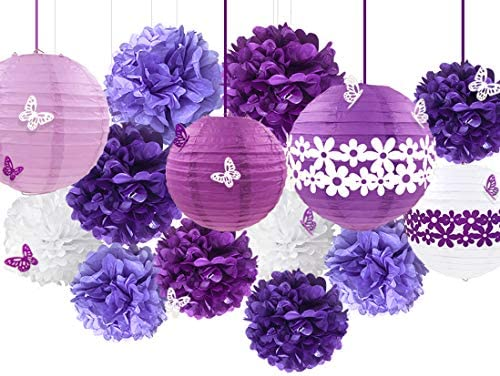 38Pcs Purple White Party Decoration Kit Lanterns with Flower Pom Poms and Paper 3D Butterfly product image