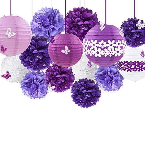 38Pcs Purple White Party Decoration Kit Lanterns with Flower Pom Poms and Paper 3D Butterfly Stickers for Birthday Wedding Engagement Baby Shower Bridal Shower Bachelorette Lavender Party Decorations