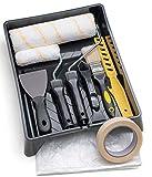Tradelux® Rullo Per Pittura Professionale Teli Antigoccia Pennelli Set Kit Fai Da Te Verniciare Imbiancare Spatola Stucco Per Tinteggiare Lavori Decorazioni Casa