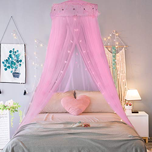 Jeteven Bed Canopy Mosquito Net Naturals Bed Canopy Fly Insect Protection Indoor/Outdoor Decorative Height 240cm/94.5in Pink