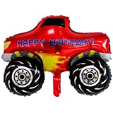 JSJJARD Globos Niños 1pc vehículo de Serie Feliz Cumpleaños Globos Partido decoración del Tanque de la Motocicleta Regalo del bebé vagón de Tren de Camiones contra Incendios (Color : Rose Red)
