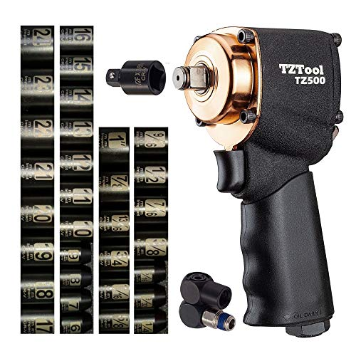 TZTool mini 1/2' impact wrench kit w 34 PC 1/2' and 3/8' Metric and Inch super short sockets and 3/8' Reducer and swivel plug