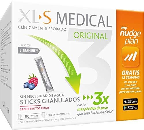 XLS Medical Captagrasas,Incluye tu plan personalizado Nudge Gratis 12 semanas para perder peso,Pierde 3 veces más peso que sólo haciendo Dieta,Capta 28% de la Grasa Ingerida,90 Stick,Tratamiento 1 mes