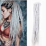 AOSOME 20inch Pack of 20 Crochet Dreadlock Hair Extensions Handmade Synthetic Hair Reggae Hair,Light Grey Color