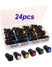 Gebildet SPST 24 stuks 12 mm momentan drukknop, AC 250 V/1,5 A 125 V/3 A, plastic DIY mini-drukknop voor autotrompet, pc, tafellamp, huisdeurbel