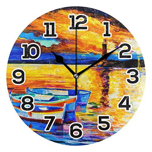Reloj de Pared con diseño de Faro náutico, Pintura al óleo, acrílico silencioso, 25,4 cm, decoración del hogar, Oficina, Escuela, Reloj Redondo