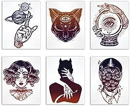 Occult Tattoo Prints - Set of 6 Alchemy Witch Devil Wall Art Decor Photos 8x10 Third Eye Cat - Planets Ball - Creepy Eyes