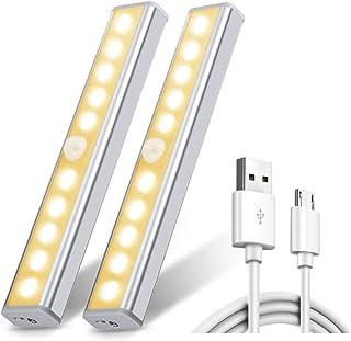 Lot de 2 Lampes 10 LED, Sans Fil, Rechargeable par USB, Aimanté, Détecteur de Mouvement, 2 Modes d'Éclairage, Portable Lum...