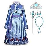 Disfraz de princesa Elsa de Frozen, Anna largo, vestido de fiesta, cosplay, festival, carnaval, dama de honor, maxi fiesta de cumpleaños, fantasía, vestido de boda Azul 3 3-4 Años