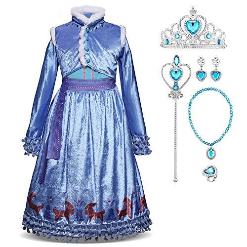Disfraz de princesa Elsa de Frozen, Anna largo, vestido de fiesta, cosplay, festival, carnaval, dama de honor, maxi fiesta de cumpleaños, fantasía, vestido de boda Azul 3 7-8 Años