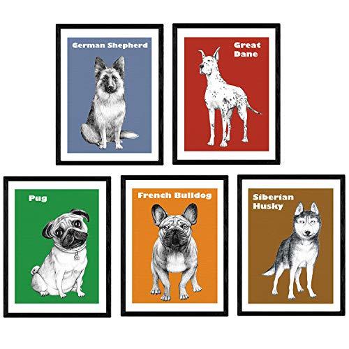 Nacnic Pack-Poster dePerros decoratieve hondenras kunst. Láminas Pop. A4-formaat