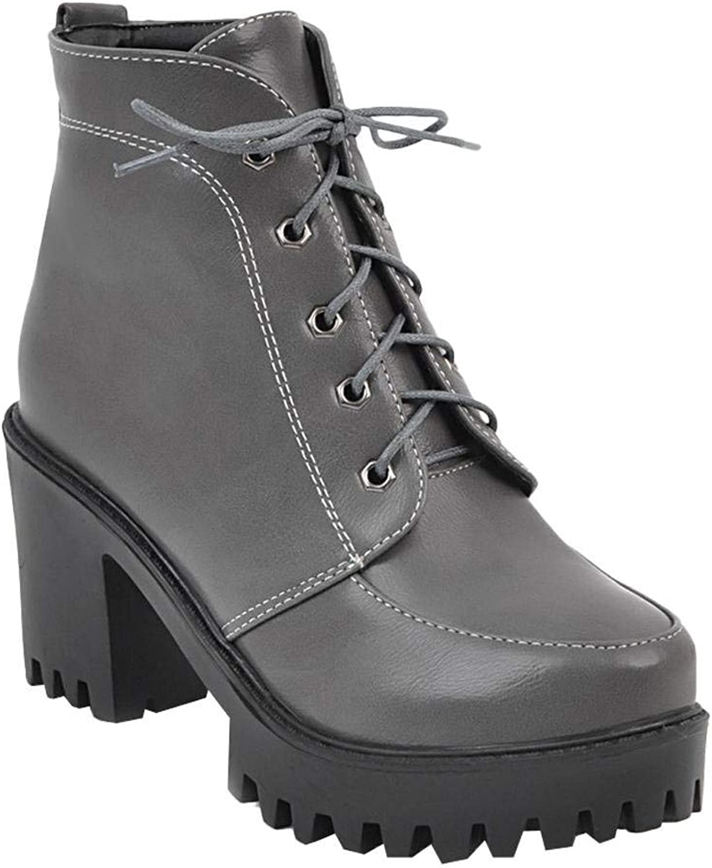 Wallhewb Women's Western Platform Lace Up Chunky High Heel Short Boots Highten Increasing Fashion for Women Platform Ankle Heels Joker Comfortable Skinny Small Fellow Grey 6.5 M US Short Boots