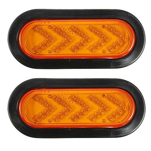 Hehemm 35 LED Ambre Queue Arrow Turn Signal Light pour remorque de voiture lampe de lumière 10–30 V (lot de 2)