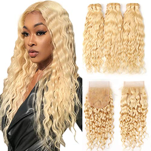 613 Human Hair Bundles with Closure Brazilian Virgin Hair Water Wave 3 Bundles With Lace Closure Free Part Blonde Bundles with Closure Remy Hair (22 24 26 with 20 Inch)