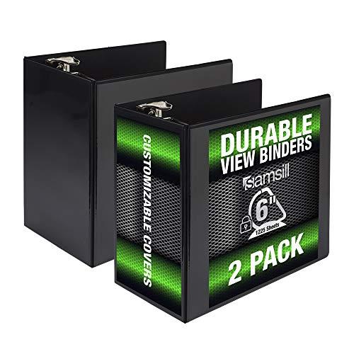 Samsill Durable 6 Inch Binder Black D Ring Binder/Customizable Clear View Binder/Bulk Binder 2 Pack/Black 3 Ring Binder 6 inch (MP26420)