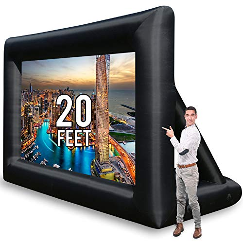Jumbo 20 Feet Inflatable Outdoor and Indoor Theater Projector Screen - Includes Inflation Fan, Tie-Downs and Storage Bag - Supports...